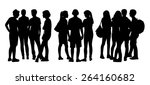 black silhouettes of three...   Shutterstock . vector #264160682
