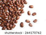 coffee beans on white background | Shutterstock . vector #264170762