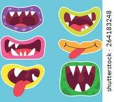 monster mouths set  | Shutterstock .eps vector #264183248