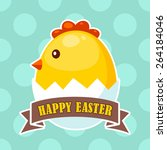 easter label with cute chick... | Shutterstock .eps vector #264184046