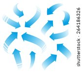 set of blue vector arrows  | Shutterstock .eps vector #264186326