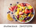 bowl of healthy fresh fruit... | Shutterstock . vector #264191096