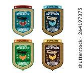vector airplane   flying badge  ... | Shutterstock .eps vector #264197375