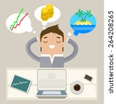 business man dreaming on a...   Shutterstock .eps vector #264208265