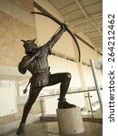 Small photo of A statue of folk hero Robin Hood in Doncaster Robin Hood Airport, Yorkshire, Britain