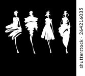 fashion models silhouettes... | Shutterstock .eps vector #264216035