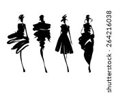 fashion models silhouettes... | Shutterstock .eps vector #264216038