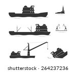 silhouettes of cargo ships and... | Shutterstock .eps vector #264237236