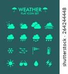 vector flat icon set   weather  | Shutterstock .eps vector #264244448