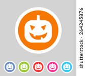 halloween pumpkin symbol flat...   Shutterstock . vector #264245876