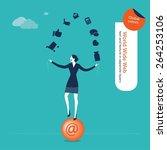 businesswoman juggler with... | Shutterstock .eps vector #264253106