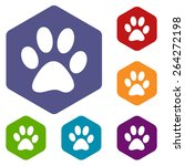 paw rhombus icons set in... | Shutterstock . vector #264272198
