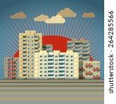 retro colored city landscape... | Shutterstock .eps vector #264285566
