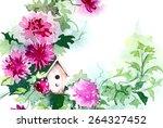birdhouse with flowers | Shutterstock . vector #264327452