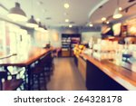 Stock photo blurred background made with vintage tones coffee shop blur background with bokeh 264328178