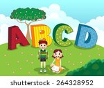 abcd alphabet and children | Shutterstock .eps vector #264328952