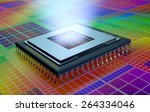 Close Up View Of A Cpu On An...