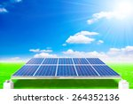 solar energy panels on green... | Shutterstock . vector #264352136