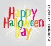 halloween poster colorful ... | Shutterstock .eps vector #264353435