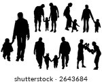 silhouettes of parents with... | Shutterstock .eps vector #2643684