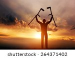 a disabled man raising his... | Shutterstock . vector #264371402