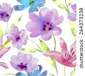 watercolor flowers seamless... | Shutterstock .eps vector #264373238
