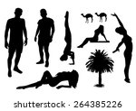 set of beach silhouettes design | Shutterstock .eps vector #264385226