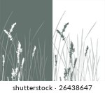real grass  silhouette / vector /  2 colors - stock vector