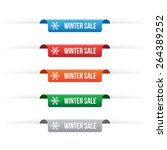 winter sale paper tag labels  | Shutterstock .eps vector #264389252