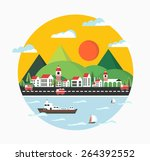 urban landscape in the style of ... | Shutterstock .eps vector #264392552