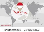 world map with magnified... | Shutterstock .eps vector #264396362