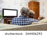 caucasian family sitting on the ... | Shutterstock . vector #264406292
