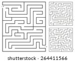 isolated set vector maze game 3 | Shutterstock .eps vector #264411566