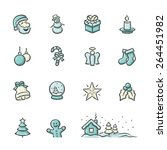 hand drawn christmas icons.... | Shutterstock .eps vector #264451982