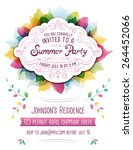 colorful vector summer party... | Shutterstock .eps vector #264452066