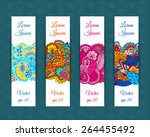 set of web banners with floral... | Shutterstock .eps vector #264455492