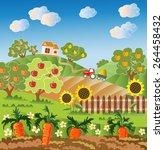 rural landscape. fruit garden ... | Shutterstock .eps vector #264458432
