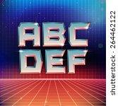 80s retro futuristic font from... | Shutterstock .eps vector #264462122