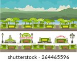 illustration of an urban park... | Shutterstock .eps vector #264465596