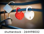Red And White Love Lock As A...