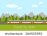 train on railway with forest... | Shutterstock .eps vector #264525392