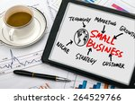 Small photo of small business concept diagram hand drawing on tablet pc