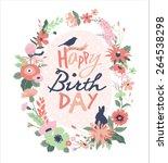 happy birthday. greeting card... | Shutterstock .eps vector #264538298