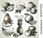 hand drawn sketch fruit set.... | Shutterstock .eps vector #264547052