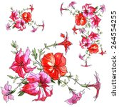 red watercolor flower  ... | Shutterstock . vector #264554255