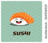 vector cute sushi character... | Shutterstock .eps vector #264556025