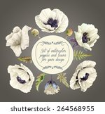 vector set of white poppies ... | Shutterstock .eps vector #264568955