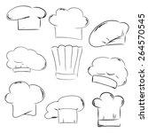 chef hat set drawing vector   Shutterstock .eps vector #264570545