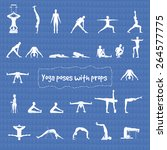 set of 24 yoga poses with props ... | Shutterstock .eps vector #264577775