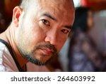 portrait head bald shot of... | Shutterstock . vector #264603992